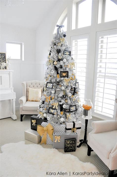 karas party ideas michaels dream tree challenge  black white gold christmas tree