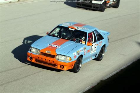 gulf racing mustang gulf themed livery on a ford mustang chumpcar world series
