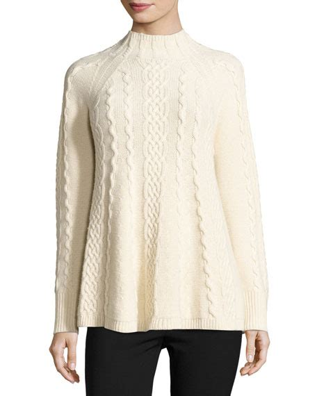 Print Mock Two Pullover mock neck cable knit pullover ecru