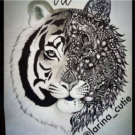 how to draw a doodle tiger zentangle illustration doodle on instagram