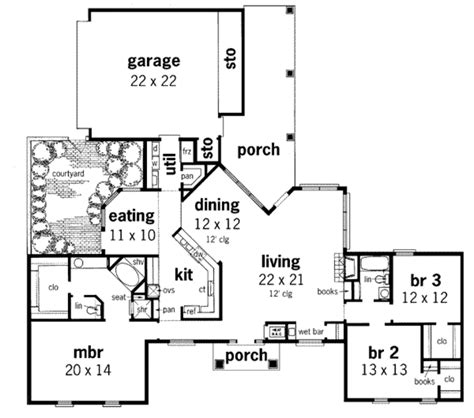 European Floor Plans by European Style House Plan 3 Beds 2 Baths 2023 Sq Ft Plan