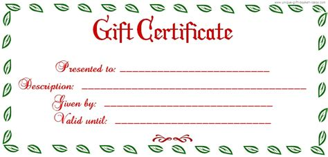 printable gift certificates template free printable blank gift certificates