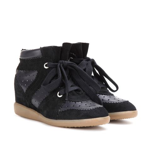 marant wedge sneakers marant betty leather and suede concealed wedge