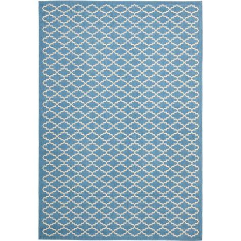 Safavieh Courtyard Blue Beige 4 Ft X 5 Ft 7 In Indoor 4 Ft Rugs