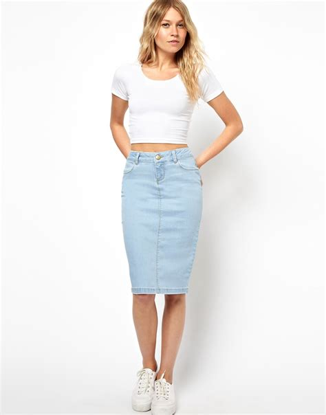 asos asos ultra denim pencil skirt in vintage wash at asos