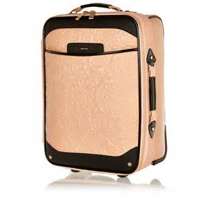 river island light pink floral quilted suitcase in pink lyst