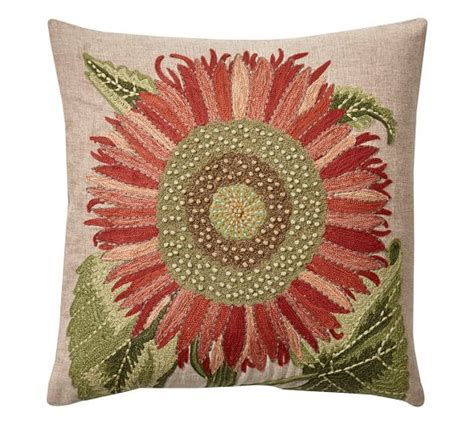 Sunflower Rug Pottery Barn by Single Sunflower Embroidered Pillow Cover Pottery Barn