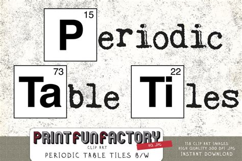 printable periodic table letters periodic table tiles black white clip art instant download