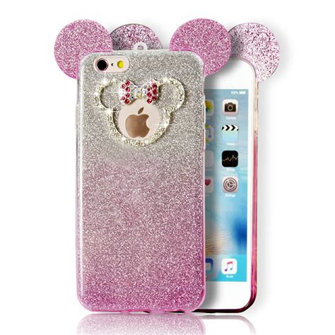 wholesale iphone  minnie bow diamond glitter necklace strap case hot pink