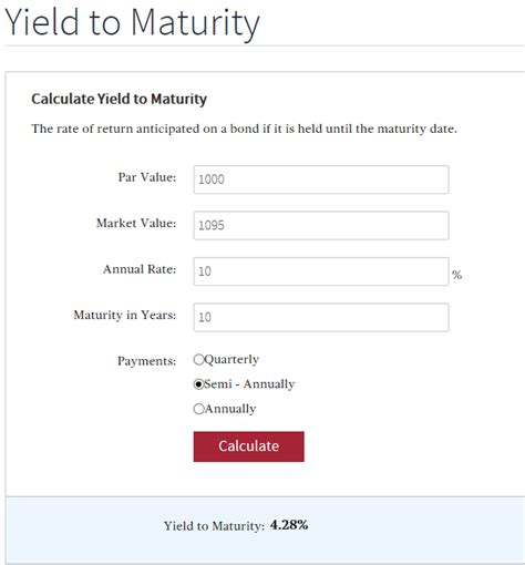 exle of yield to maturity calculation how do i calculate yield to maturity ytm