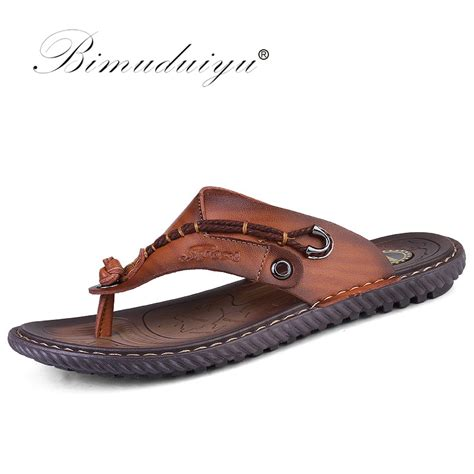 comfortable leather flip flops bimuduiyu luxury brand flip flops soft comfortable