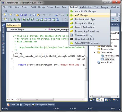 android studio avd tutorial debugging the hello jni project with visual studio