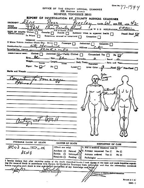 Official Autopsy Results For Smith by Rockmine Archive Vault Autopsy Reports Elvis