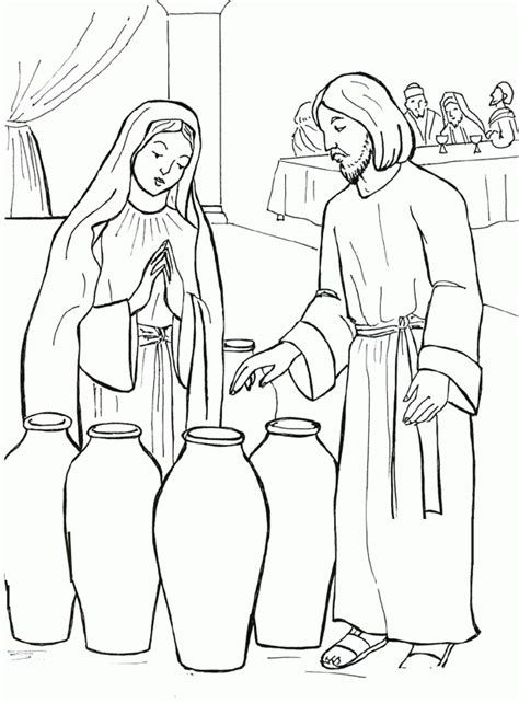 coloring pages jesus water into wine jesus turns water into wine coloring pages coloring home