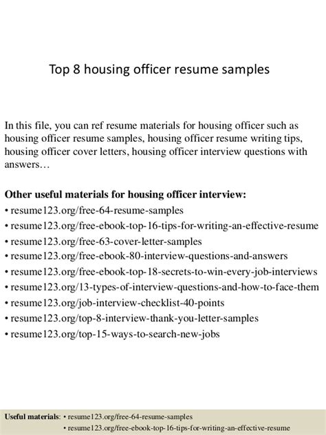 Housing Officer Sle Resume by Top 8 Housing Officer Resume Sles