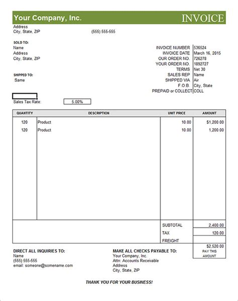18 Free Commercial Invoice Templates Sle Templates Simple Commercial Invoice Template