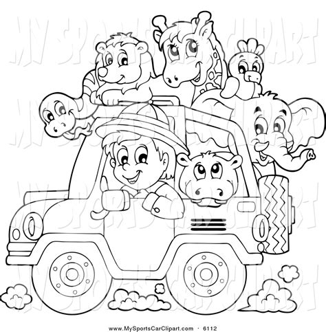 jeep safari white safari clipart black and white pencil and in color