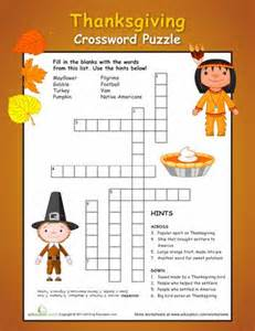 printable thanksgiving crossword puzzles thanksgiving crossword puzzles for 5th graders