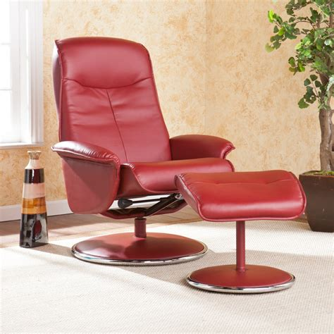 bonded leather chair and ottoman upton home lyndon red bonded leather recliner and ottoman
