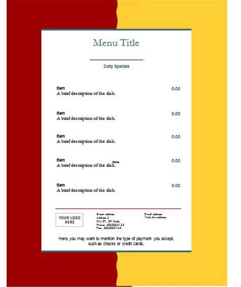 diner menu template free free blank restaurant menu templates search results