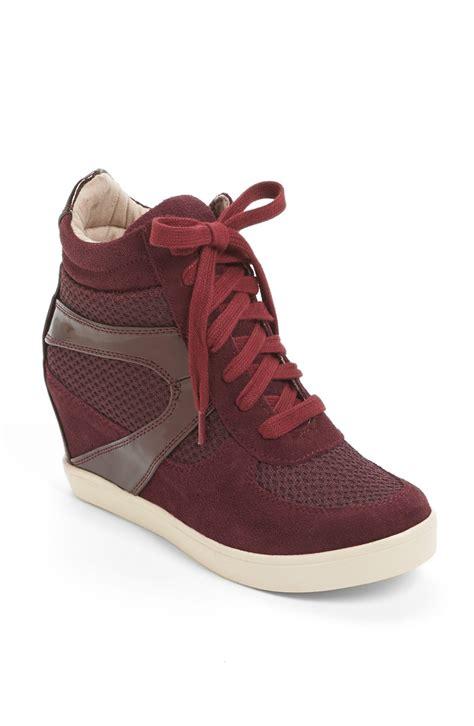 burgundy sneaker wedges steve madden olympax wedge sneaker in burgundy multi