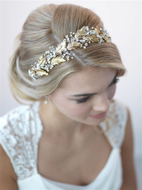 Wedding Headbands by Botanical Leaf Gold Headband Shop Gold Bridal