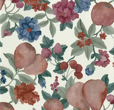 Red White And Blue Home Decor Fruit Floral Vintage Wallpaper Cream Pear Cherry Red Green
