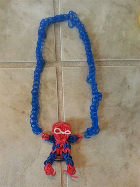 spiderman loom pattern spiderman necklace rainbow loom crafts art ideas