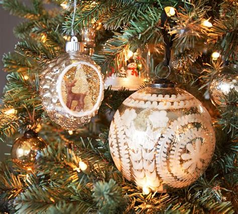 pottery barn ornaments clearance etched mercury glass ornaments silver pottery barn