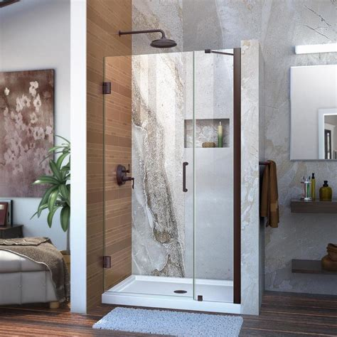 Bronze Shower Doors Frameless Shop Dreamline Unidoor 40 In To 41 In W Frameless Rubbed Bronze Hinged Shower Door At Lowes
