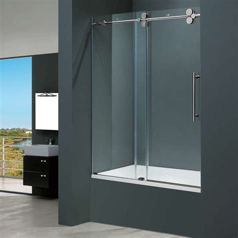 Bathroom Glass Sliding Doors Frameless Glass Vigo 60 Inch Clear Glass Frameless Tub Sliding Door Special Deal
