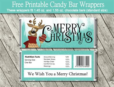 printable christmas hershey bar wrappers reindeer candy bar wrappers free printables pinterest