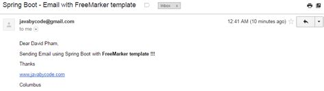 Spring Boot Freemarker Email Template Learn Java By Exles Boot Email Template Exle