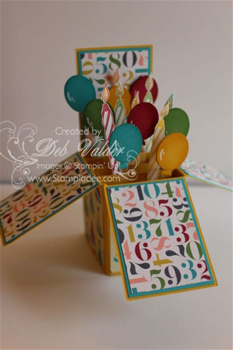 birthday card in a box template revised new z fold card in a box with deb valder deb