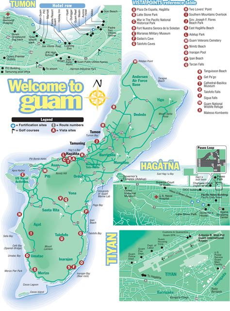 Printable Road Map Of Guam | large detailed tourist map of guam with all roads and