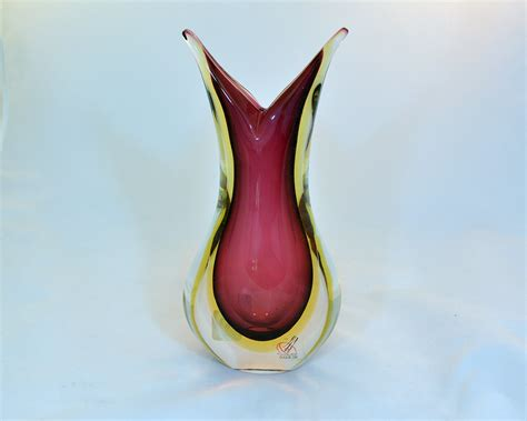 murano glass vase murano glass sommerso vase ruby and murano glass