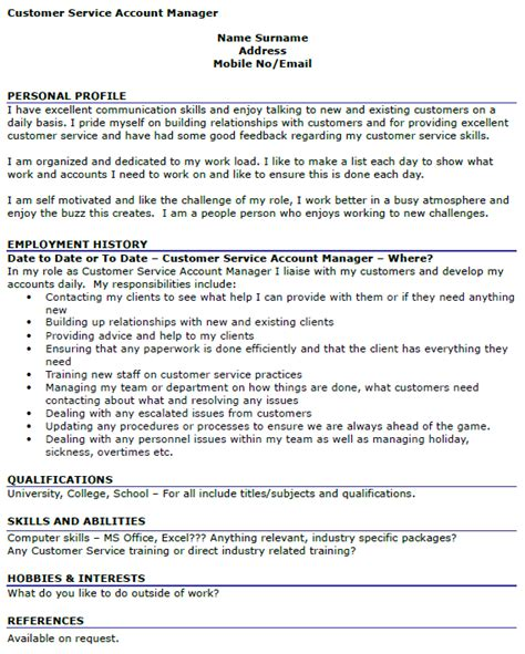 cv exle for customer service customer service account manager cv exle icover org uk