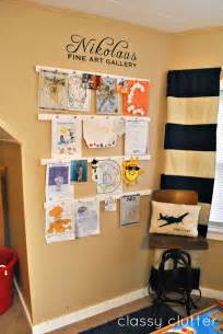 ways to display artwork kids art gallery display classy clutter