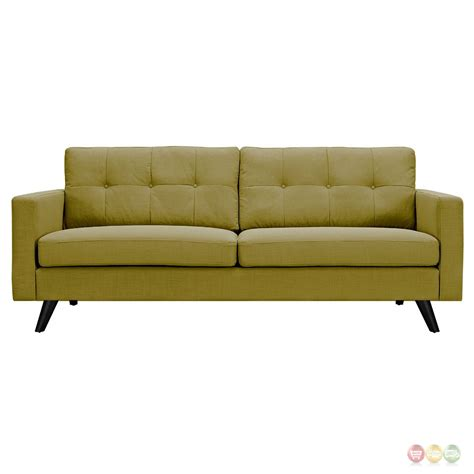 Uma Modern Green Fabric Button Tufted Sofa With Black Finish Tufted Sofas