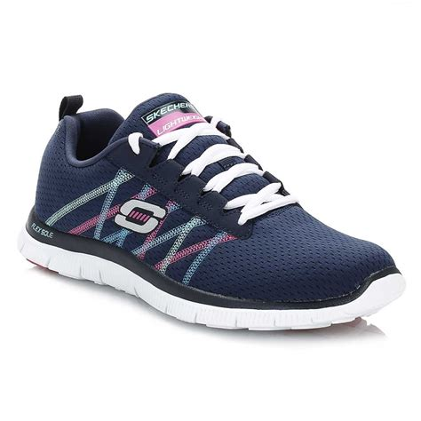 skechers sport running shoes skechers womens trainers flex appeal lace up textile