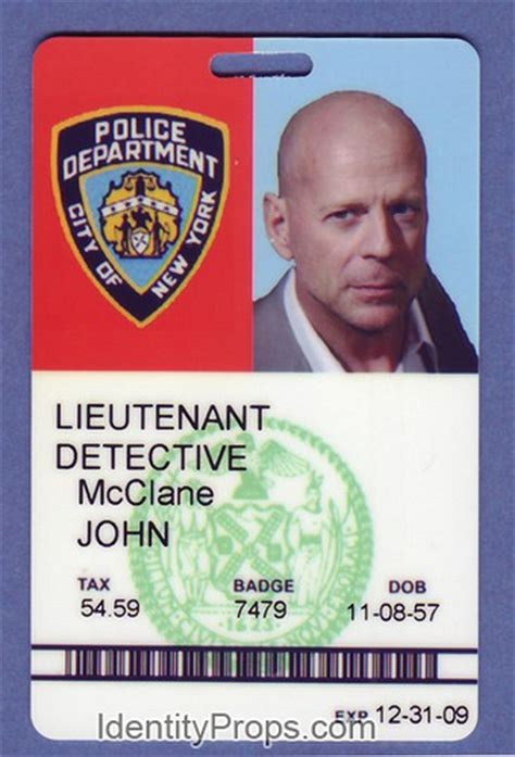 Nypd Id Card Template by Nypd Mcclane Id Card Die Prop Flickr