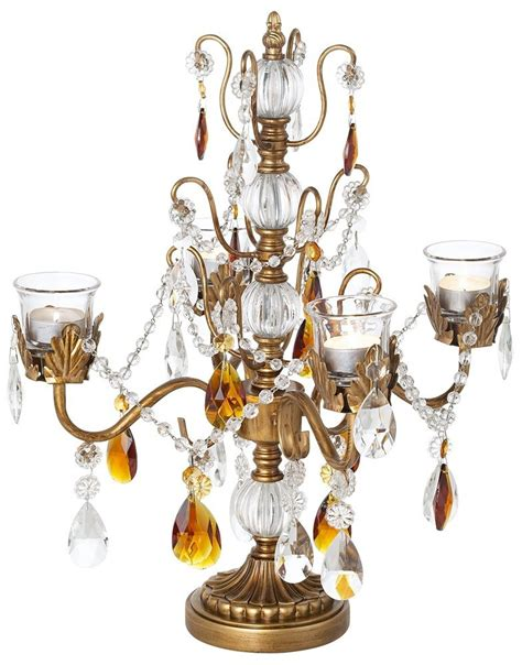 Antique Style Gold Candelabra Centerpiece With Crystals Gold Candelabra Centerpieces