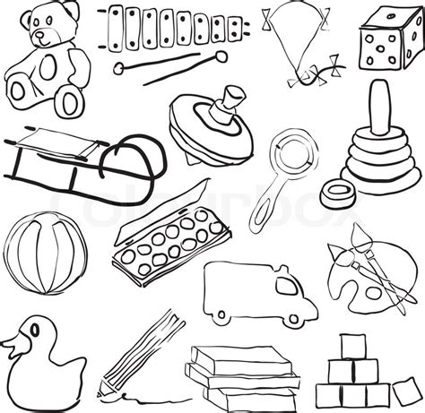 doodle box vector free doodle toys stock vector colourbox