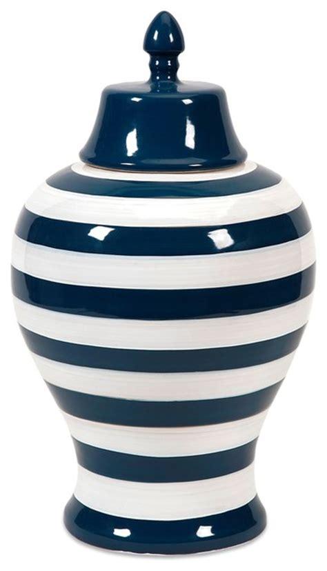Navy And White Vase Hudson Navy White Striped Lidded Vase Large Transitional