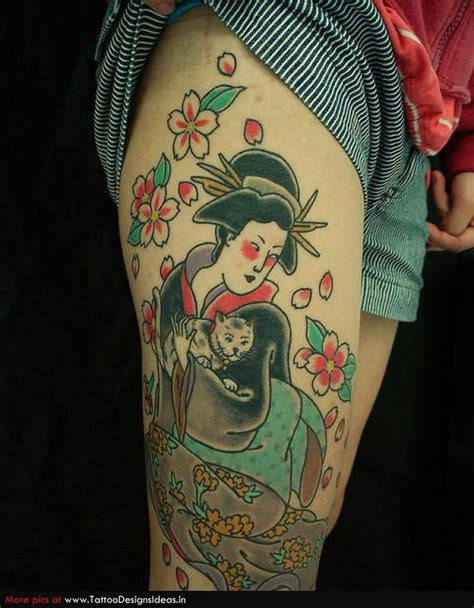 geisha tattoo on thigh geisha with cat tattoo design on right leg tattoos book