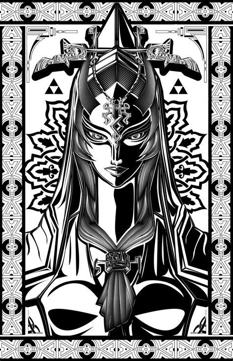black and white zelda wallpaper legend of zelda midna the twilight princess art by