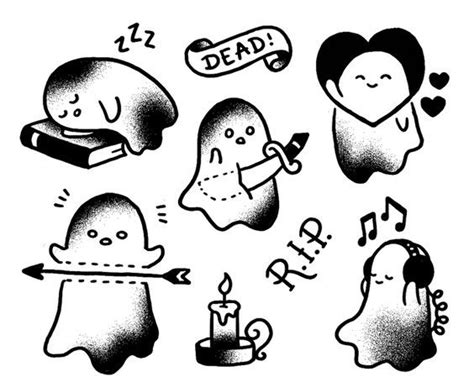 small black and white tattoo designs sweet small black and white ghosts in school style