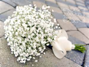 baby s breath bouquets fresh hydrangea and baby s breath bridesmaid bouquet with ivory satin wrap secrets