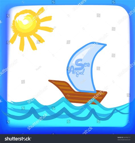 boat child drawing child s drawing sailing boat in the sea vector