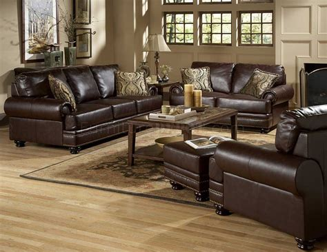 Living Rooms With Sofas by 9854 Bentleys Sofa Set In Rich Brown Leather By Homelegance